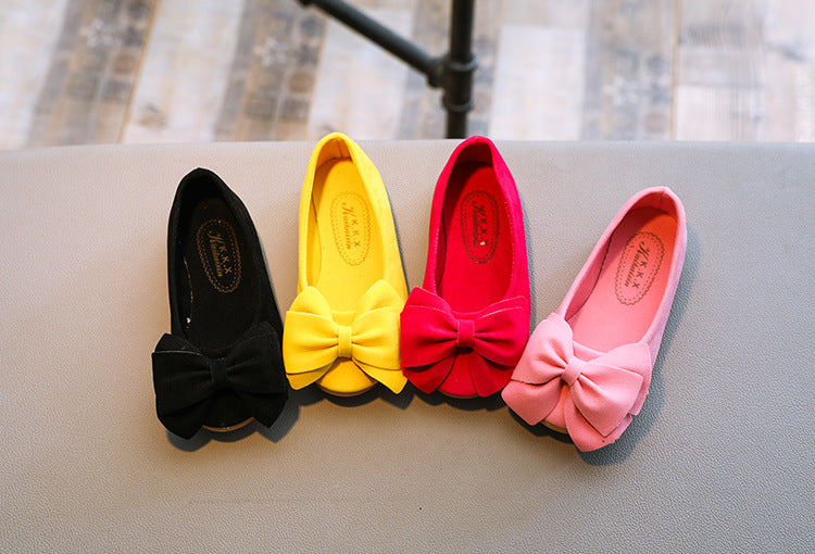 The new 2018 pure color bowknot princess shoes girls fashion shoes wear a comfortable leather shoesBuy mate