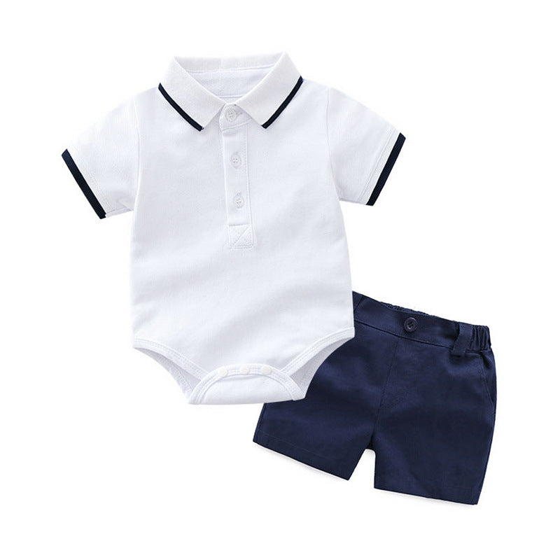 New summer cotton lapel short sleeve suit Korean gentleman boy suit p4092