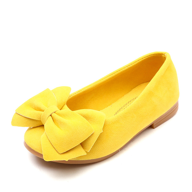 The new 2018 pure color bowknot princess shoes girls fashion shoes wear a comfortable leather shoesYellowBuy mate