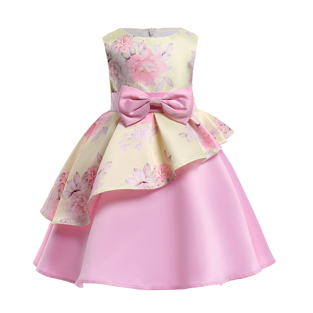 2019 irregular skirt printed children's dress dress in children's bow