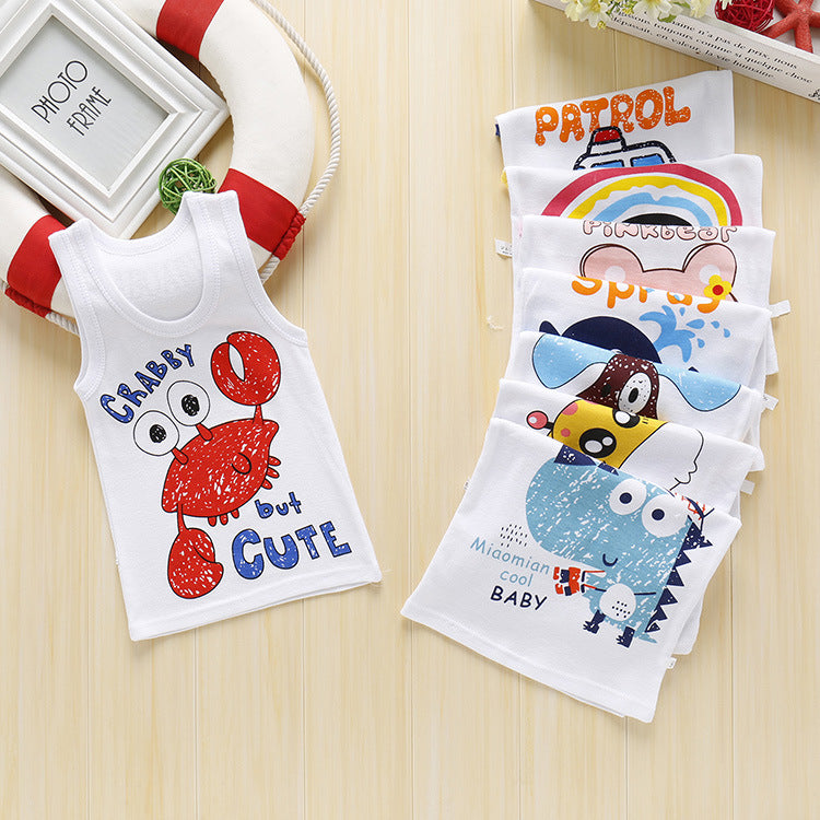 New children's cartoon vest summer cotton vest base shirt baby sweat shirt P2923Buy mate