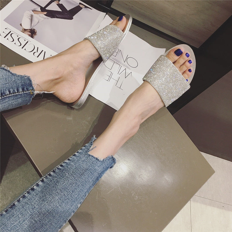 2008 Korean version of the new summer diamond fashion slippers flat sole sweet Baitao women's sandals p0015black / 35Buy mate
