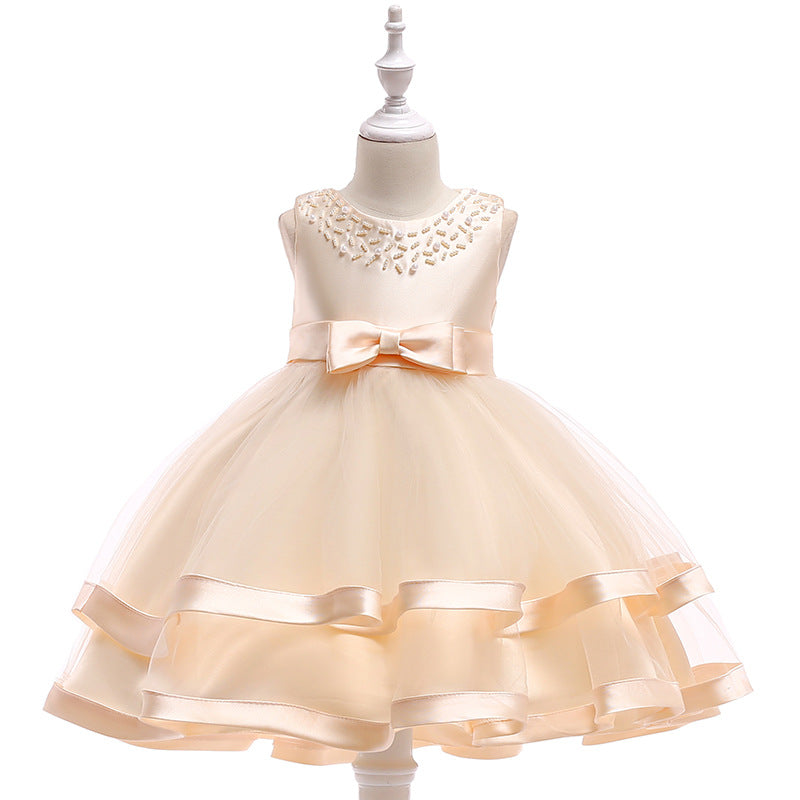 The new children's dress, the princess gauze dress, the pinnacle, the sleeveless girl's dress, the dress P0042