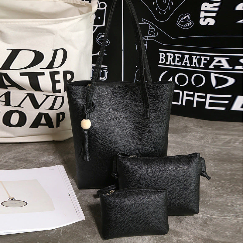 2019 the new flow wood bead three-piece female bag PU one shoulder aslant  portable lash package p5042Buy mate