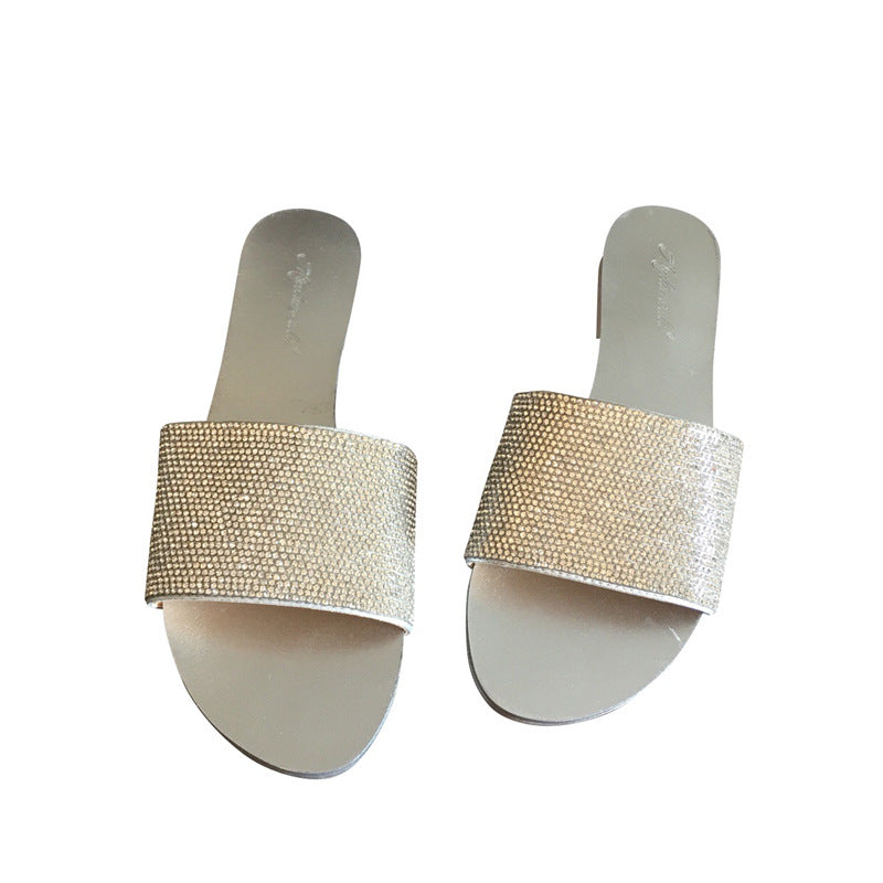 2008 Korean version of the new summer diamond fashion slippers flat sole sweet Baitao women's sandals p0015Buy mate