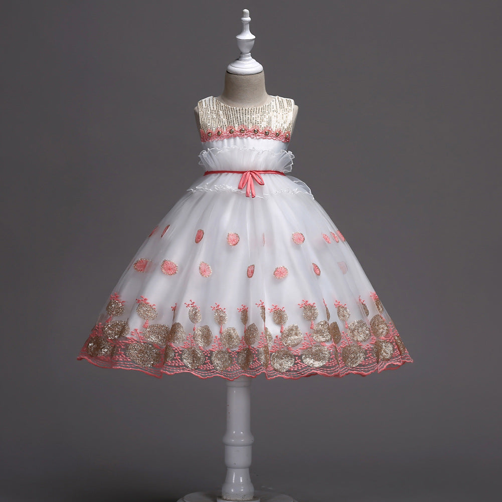 girls dress dress children's new dress big children skirt pearl