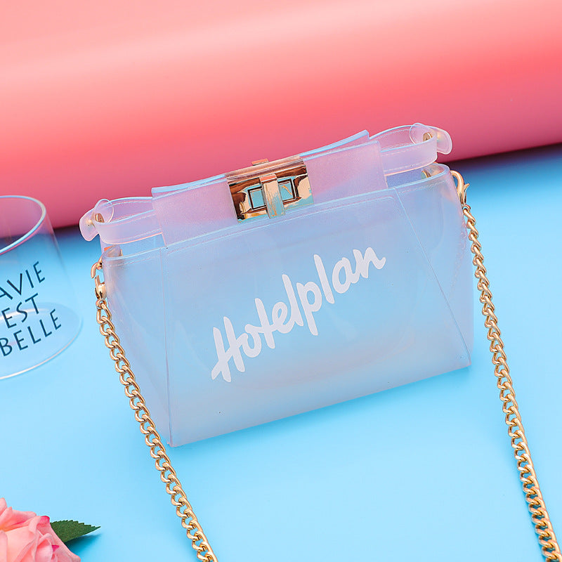 The new transparent jelly bag with small fresh single shoulder oblique satchel portable letter bag p5001Buy mate