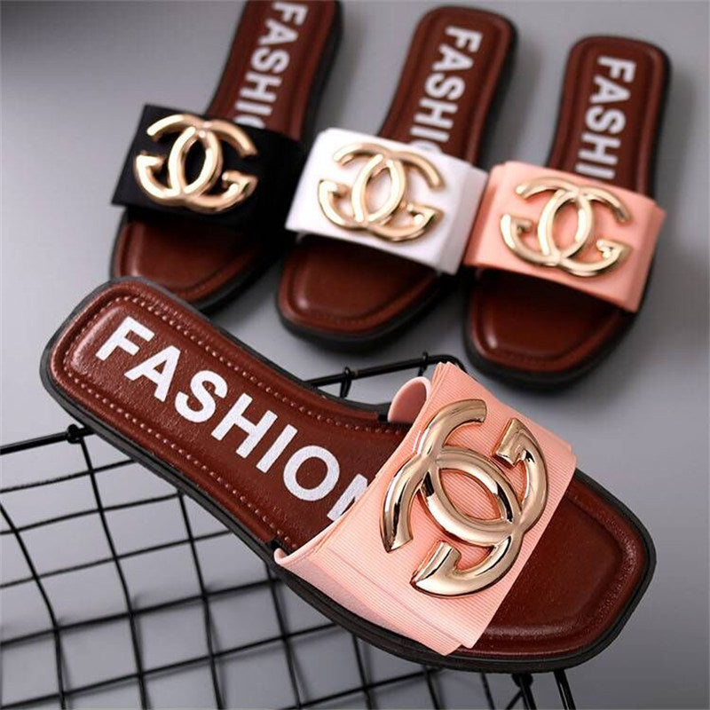 Fashion slippers female summer outside wear flat and anti-skid p4107Buy mate