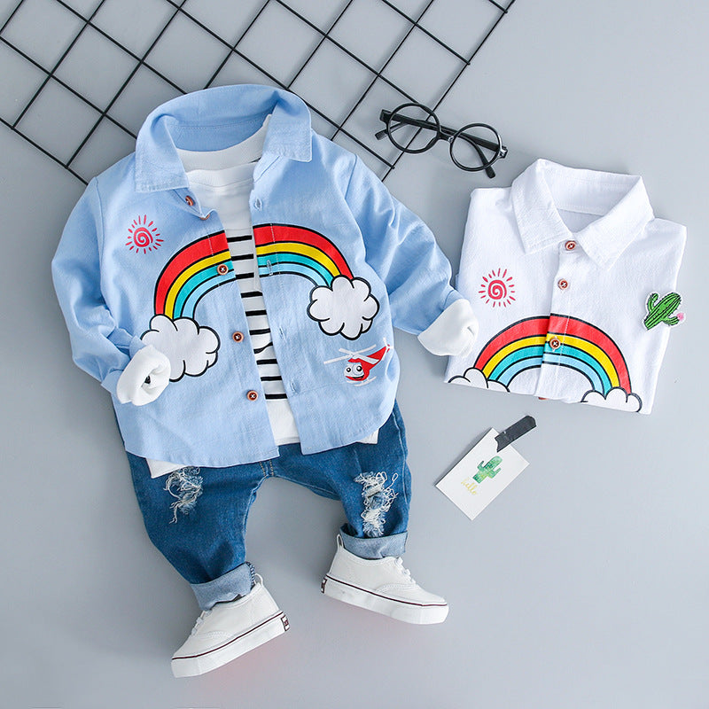 Boys and girls jeans, long-sleeved shirts, boy and baby shirts, two pieces. p4095Buy mate