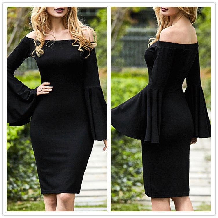 A shoulder collar horn sleeve dress p4146