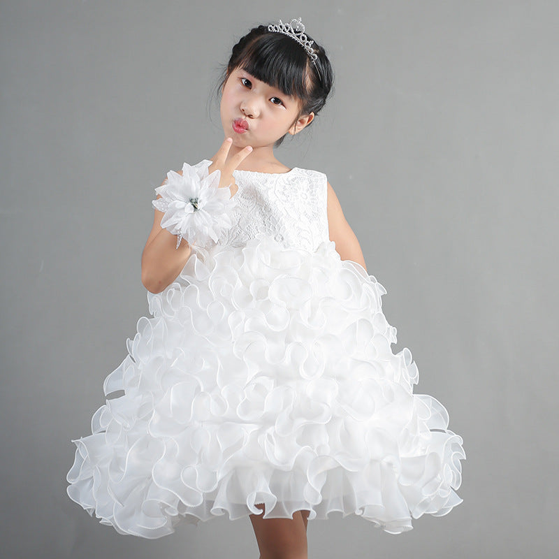 Children's  Skirt, Flower  Princess Skirt, Girl's Dance Performance Dresses p2008White / 150cmBuy mate
