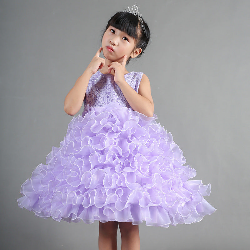 Children's  Skirt, Flower  Princess Skirt, Girl's Dance Performance Dresses p2008purple / 150cmBuy mate