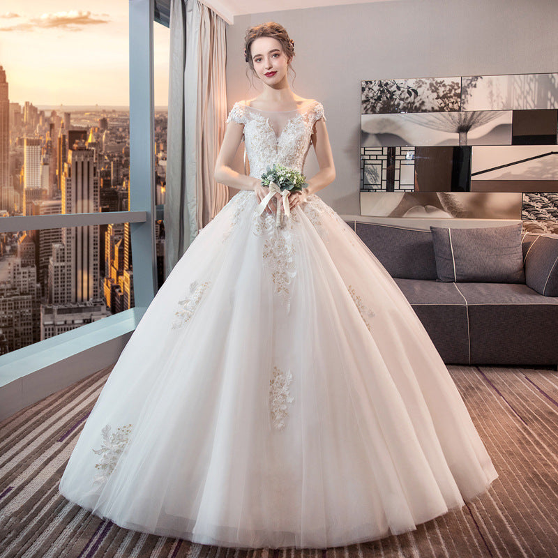 A shoulder wedding dress The European and American court princesses are thin, simple and large P3370Buy mate