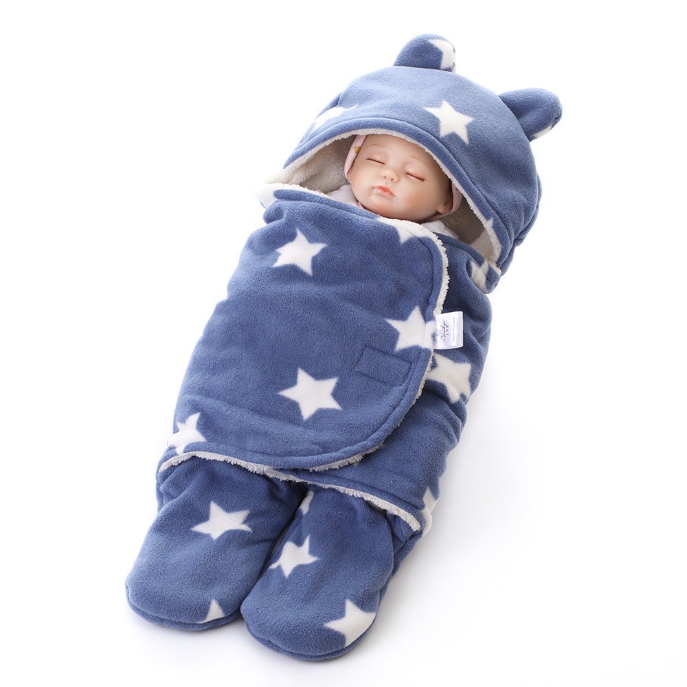 newborn blanket swaddling bag double polyester printing wool blanket