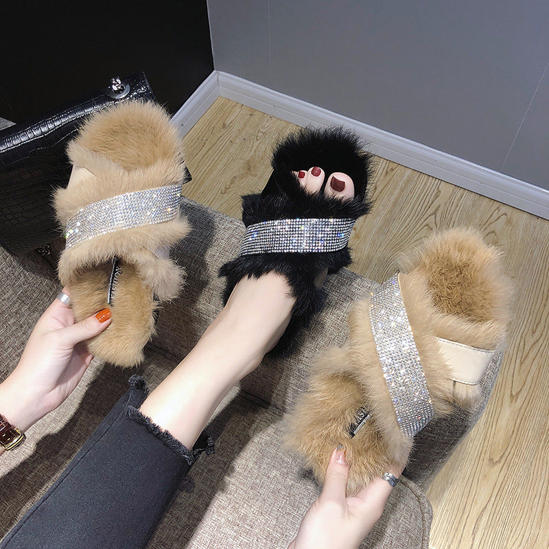 New winter shoes really wool slippers fox fur han edition with drill cross cross-border trade source speed sell tong p0011Buy mate