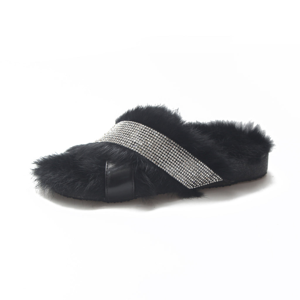 New winter shoes really wool slippers fox fur han edition with drill cross cross-border trade source speed sell tong p0011