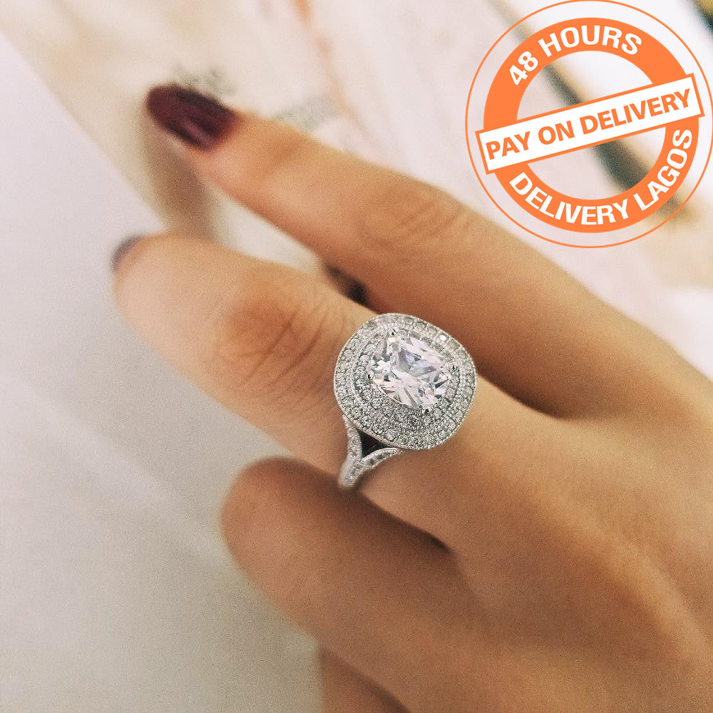 925 Sterling Silver cushion Cut Fashion Finger Engagement wedding Rings for Women Jewelry R4314SBuy mate