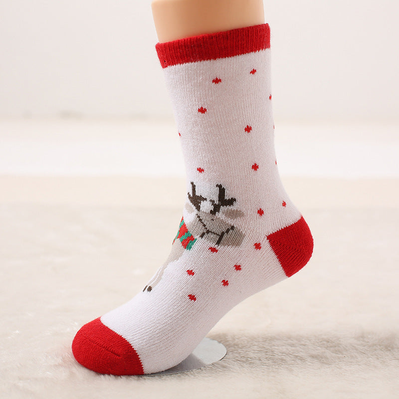 Autumn and winter wool ring thickened baby socks Autumn and winter children socks Christmas socks gift socks P00373 / 7-10ageBuy mate