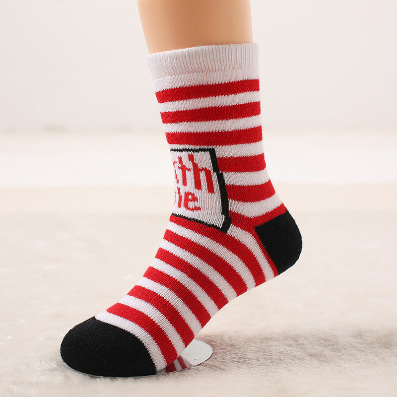 Autumn and winter wool ring thickened baby socks Autumn and winter children socks Christmas socks gift socks P00374 / 7-10ageBuy mate