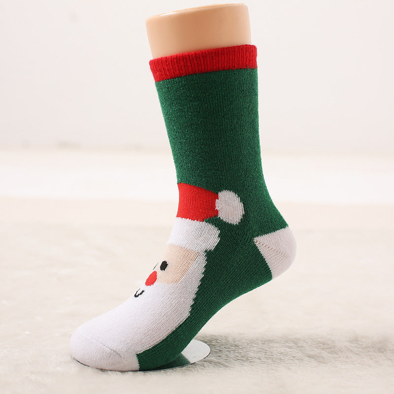 Autumn and winter wool ring thickened baby socks Autumn and winter children socks Christmas socks gift socks P00371 / 7-10ageBuy mate