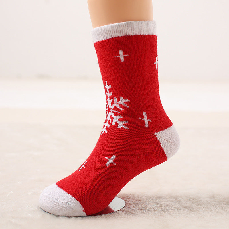 Autumn and winter wool ring thickened baby socks Autumn and winter children socks Christmas socks gift socks P00376 / 7-10ageBuy mate