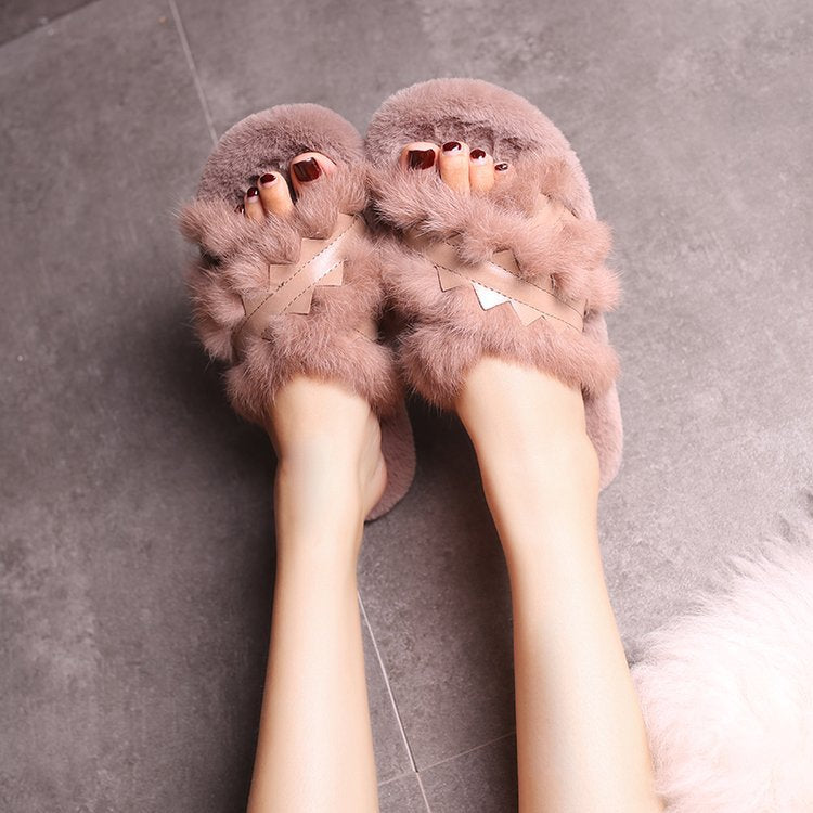 Real rabbit hair slippers female cross outside wear warm woman that occupy the home of new fund of 2018 autumn winters is plush slippers p0012Buy mate