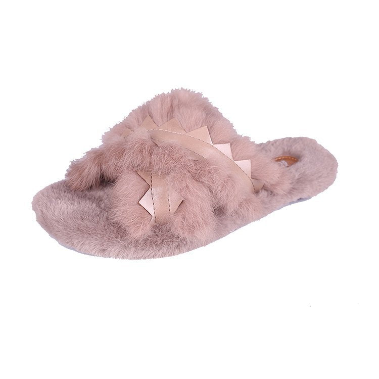 Real rabbit hair slippers female cross outside wear warm woman that occupy the home of new fund of 2018 autumn winters is plush slippers p0012Black / 37Buy mate
