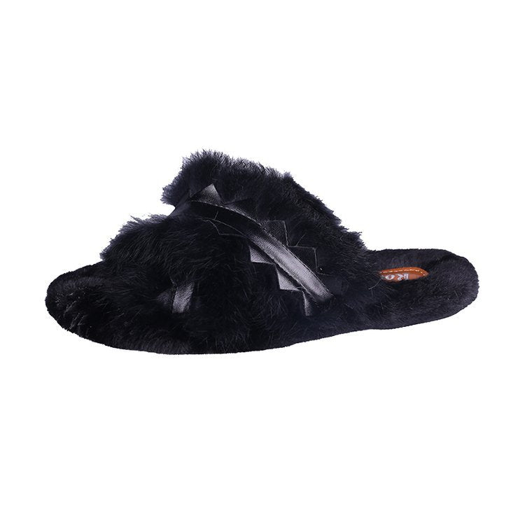 Real rabbit hair slippers female cross outside wear warm woman that occupy the home of new fund of 2018 autumn winters is plush slippers p0012Black / 36Buy mate