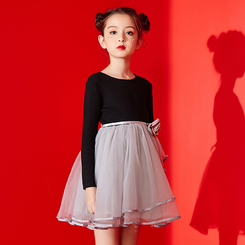 Girls' Dress Long Sleeve 2019 New Children's Knitted Mosaic Dress Large Childhood Dress P 2131170cmBuy mate