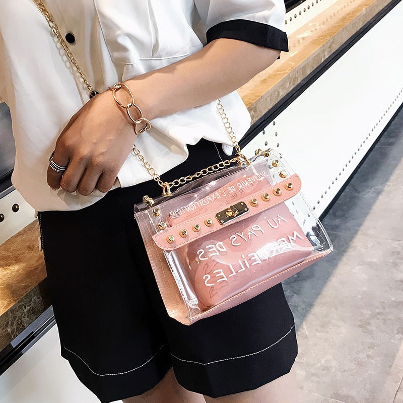 Women's bag 2019 new summer PVC transparent messenger bag Korean chain Joker shoulder bag portable jelly bag P2940Buy mate