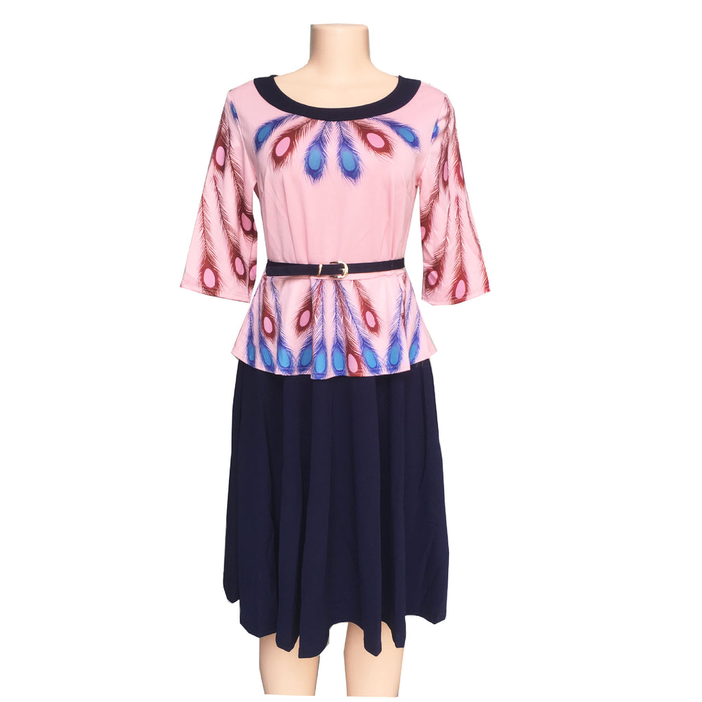 explosive feather digital printing fake two-piece crewneck color matching dress P1298pink / 4XLBuy mate