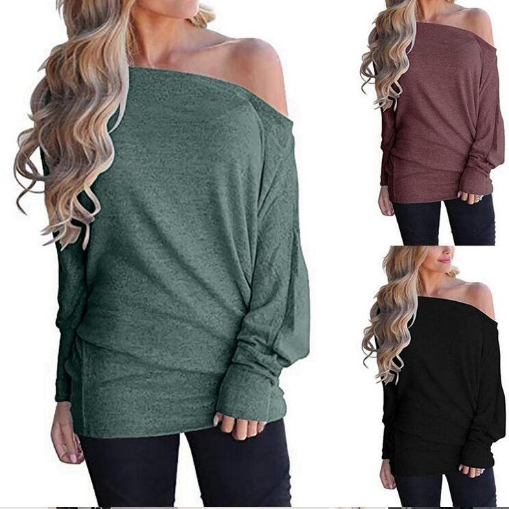 Women's solid color knitted long sleeve bat sleeve jacket with inclined open shoulder P4007