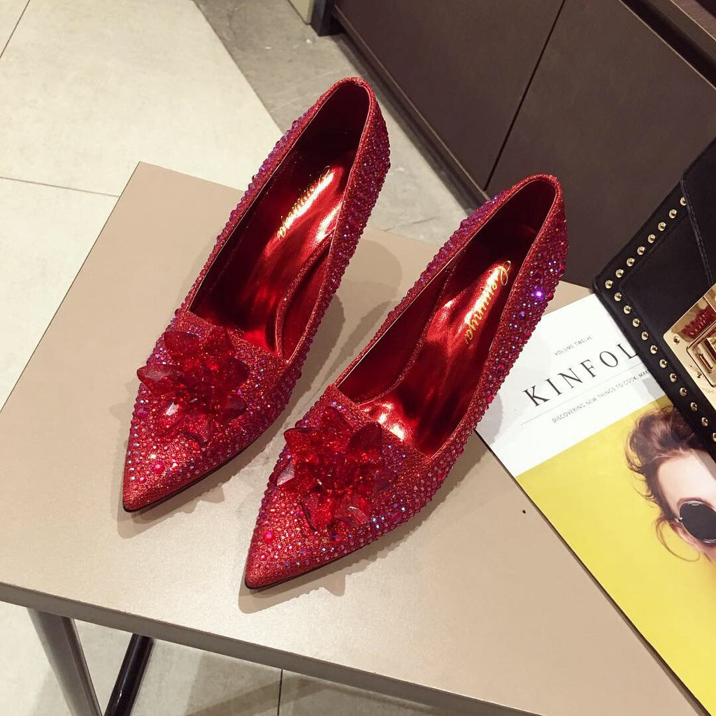 summer and autumn new European and American comfortable high-heeled single shoes Cinderella's sharp heels, fine heels, red wedding shoes p0035