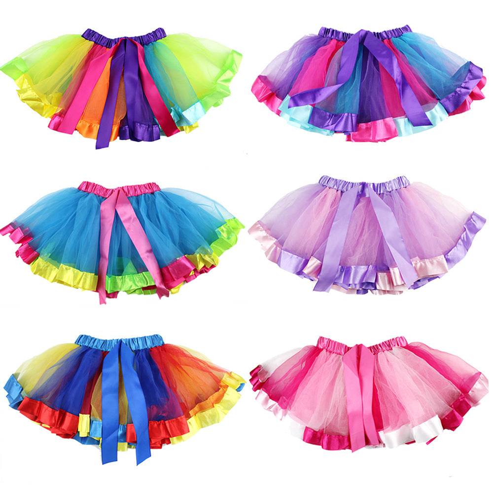 children's rainbow skirt festival girls 'dance dress
