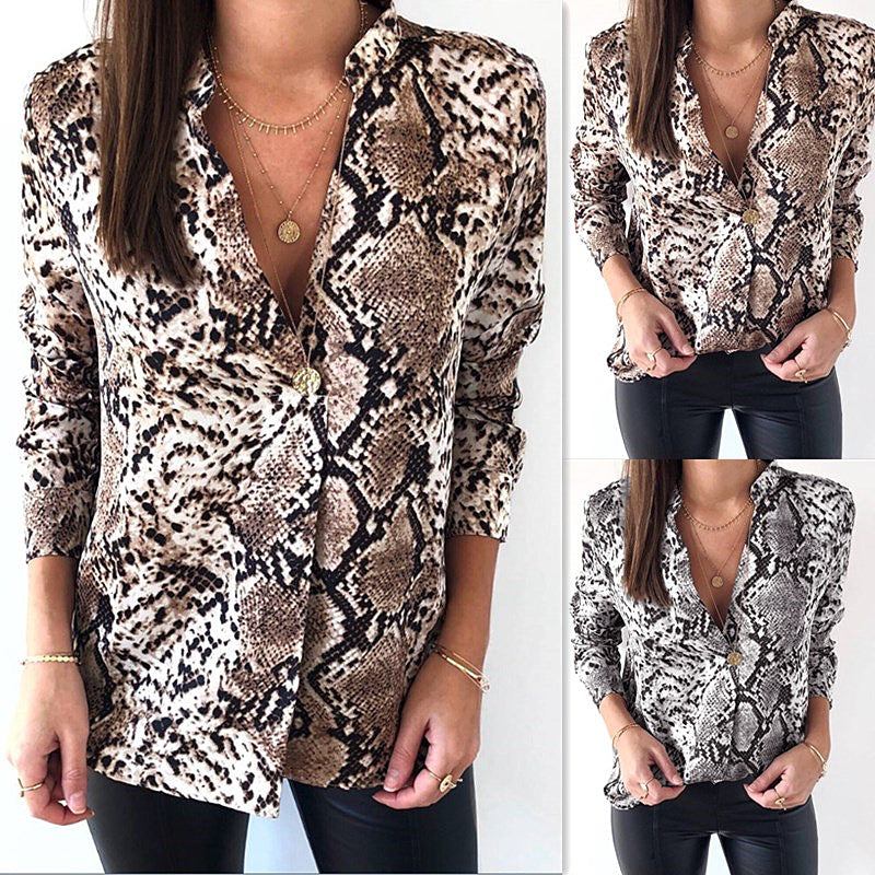 Women's fashion popular leopard grain coat long sleeve shirt P4008