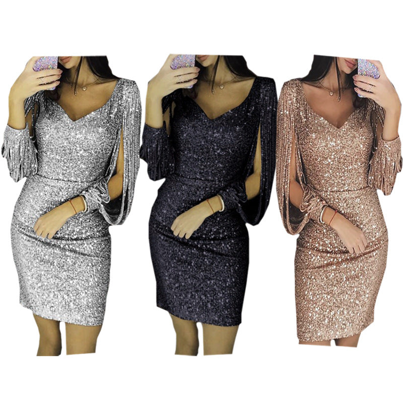 V-collar shiny fringed long-sleeved slim-fitting hip-wrapped dress P4030