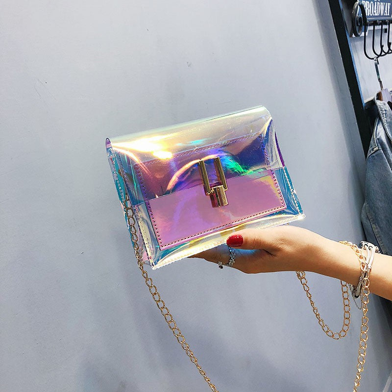 Small bag woman 2019 New Tide Korean version transparent laser chain single shoulder crossbody bag p5091