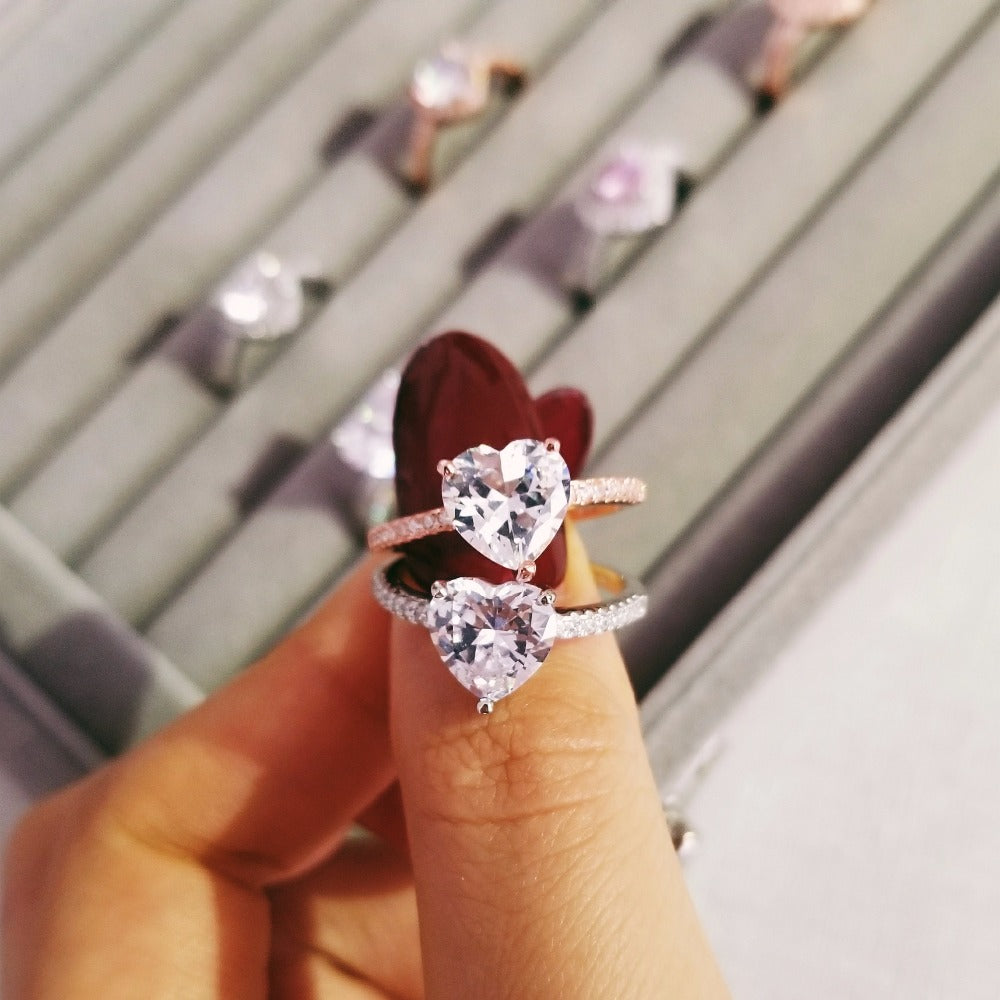 Solid 925 Sterling Silver Ring Finger heart shape fashion promise Ring for Women Jewelry fashion Engagement R4597S-Rose gold