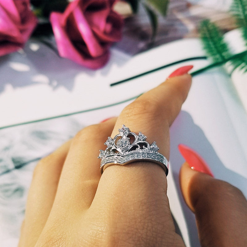925 Sterling Silver Ring Finger crown princess promise fashion Ring for girl love party Women Jewelry Engagement R4604SBuy mate