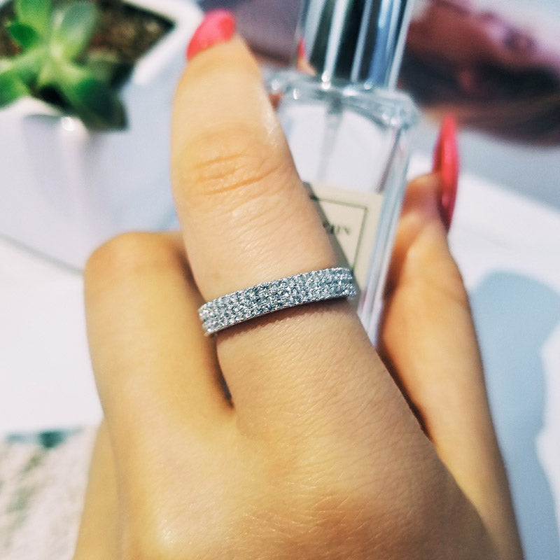 925 Sterling Silver Band eternity Ring for Wedding Engagement luxury ring finger wholesale Jewelry R721SBuy mate