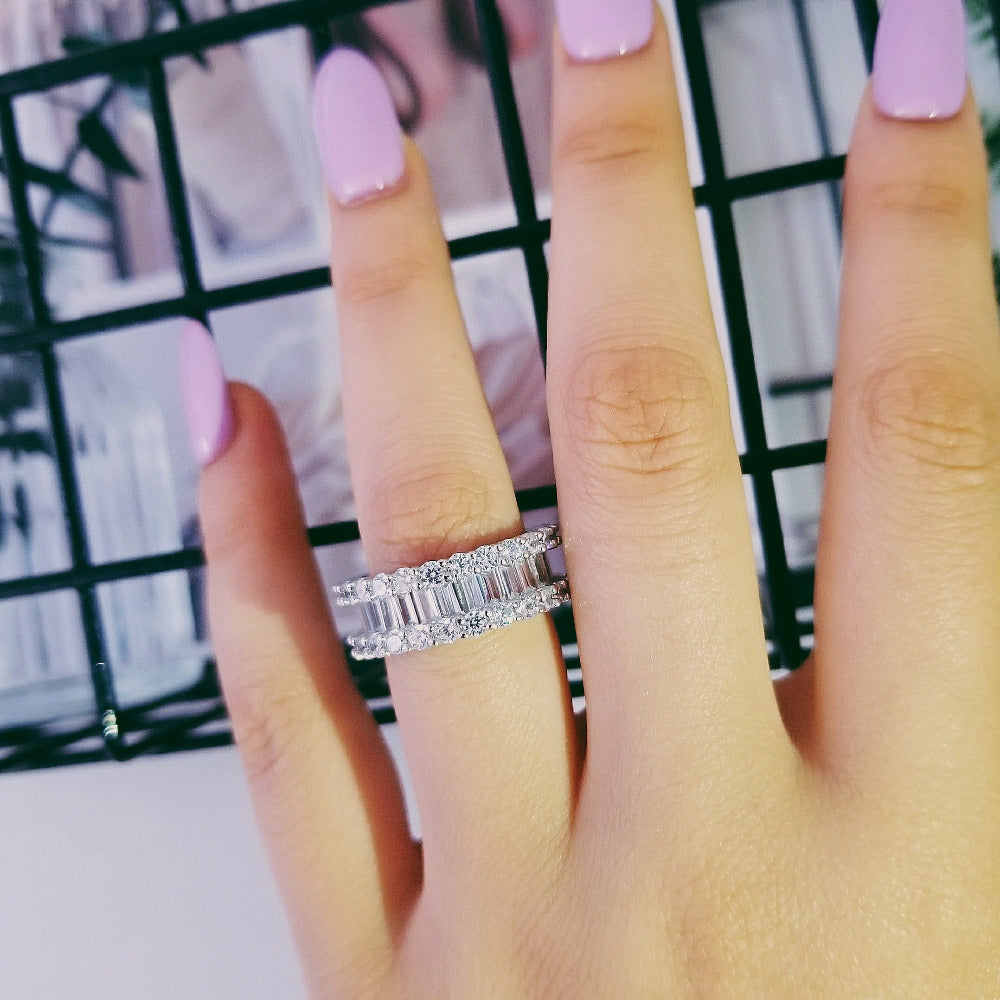 925 sterling silver baguette cut zirconia eternity band ring for women wedding valentine day gift finger jewelry R4575SBuy mate