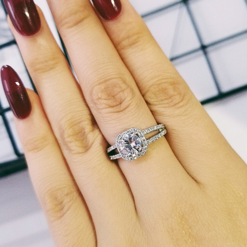 925 Sterling Silver wedding engagement Ring Finger CZ zirconia for Women Jewelry  R1104S