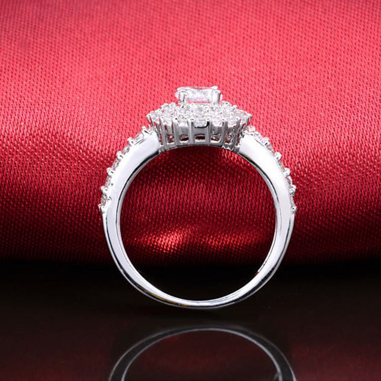 Real 925 Sterling Silver CZ Stone Engagement Ring anel for Women Wedding Round Elegant and Graceful R783S