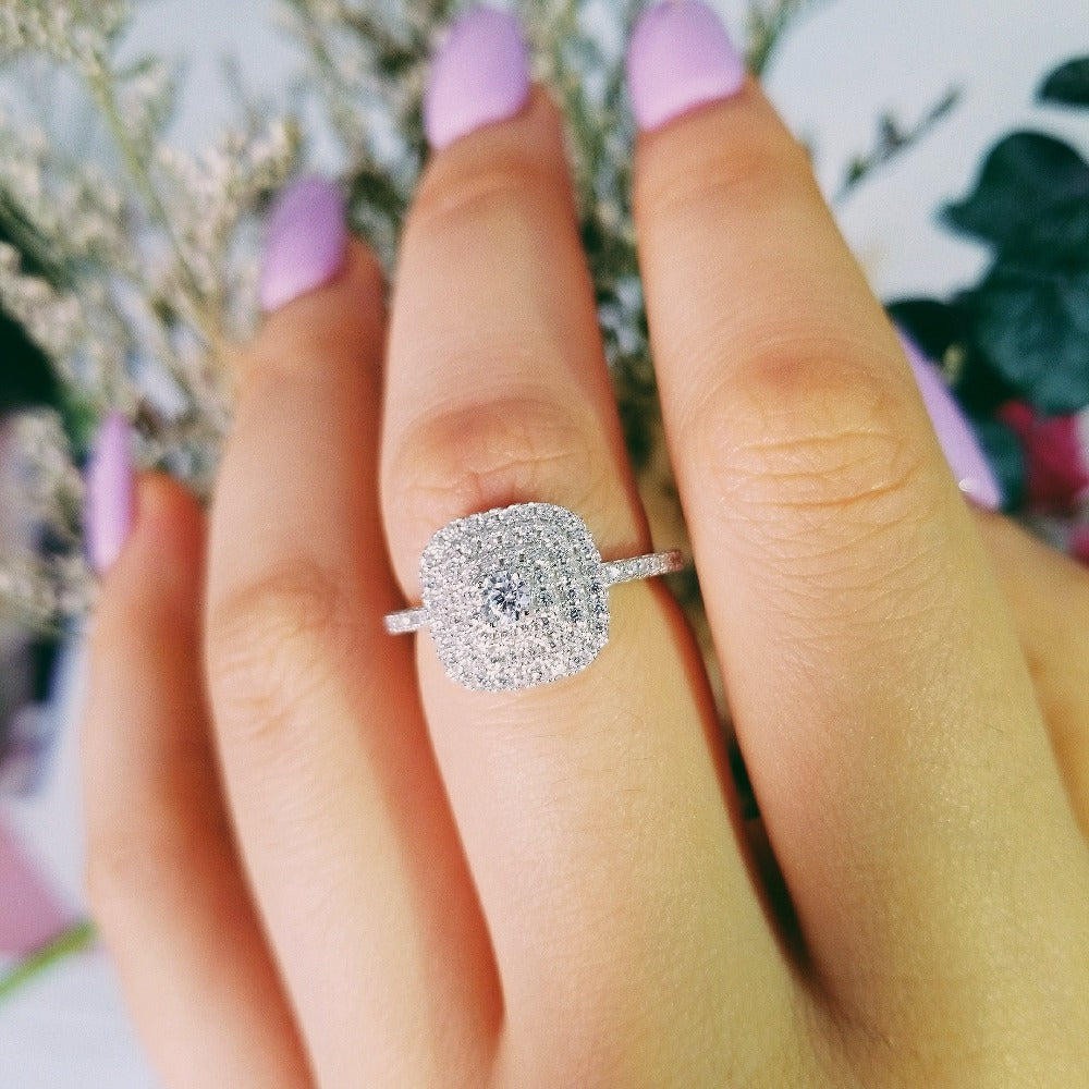 925 sterling silver AAA zirconia women wedding engagement Luxury ring wholesale jewelry fashion R4340s