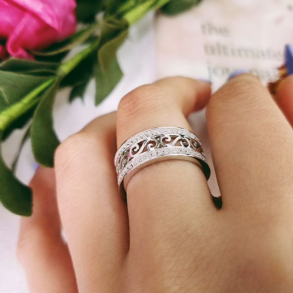925 Sterling Silver wedding band eternity rings for women men engagement bridal finger jewelry R879SBuy mate