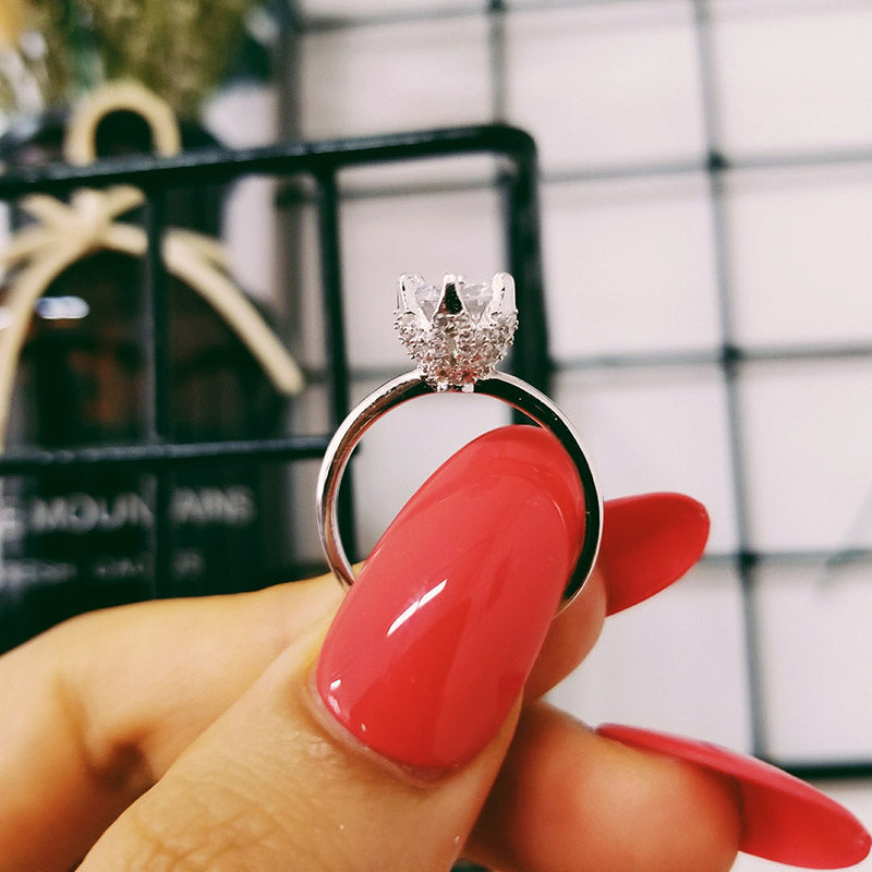925 Sterling Silver Ring Finger fashion promise solitaire Ring for Women Jewelry Engagement R4592S