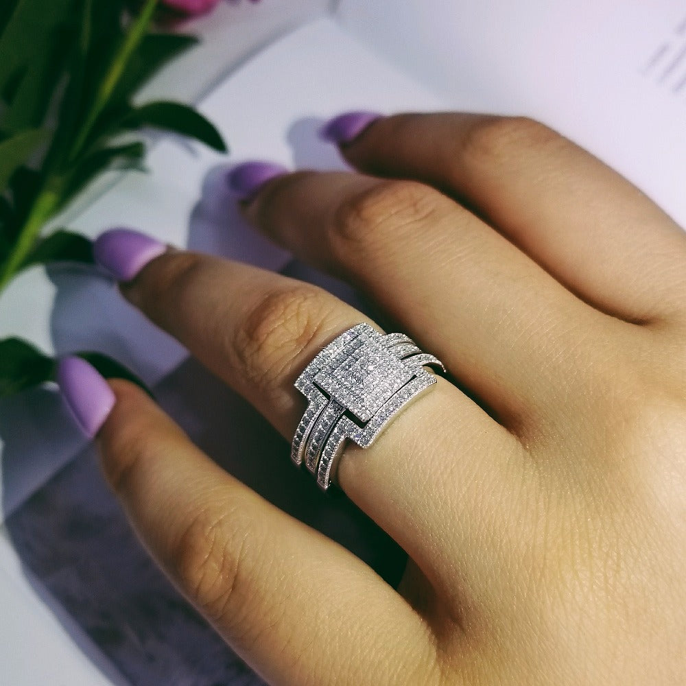 2018 NEW Design 925 sterling silver fashion luxury wedding ring engagement finger ring wholesale jewelry R4616SBuy mate
