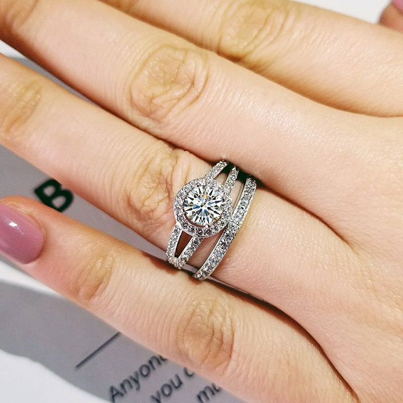 2019 new luxury halo original 925 sterling silver wedding ring set for women lady anniversary gift jewelry wholesale R5145S