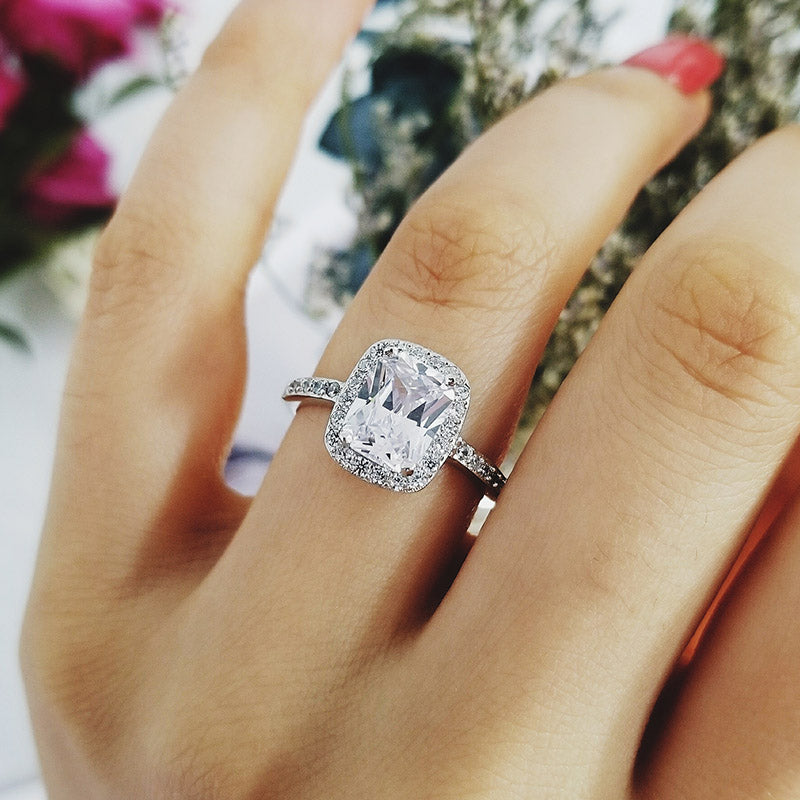 925 Sterling Silver Ring Finger fashion promise solitaire Ring for Women Jewelry Engagement R4582SBuy mate