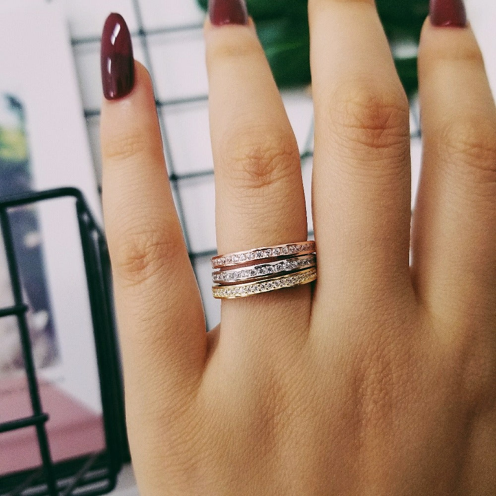 925 Sterling Silver band Ring eternity ring Finger three colors for Women Jewelry Wedding Engagement wholescale R4320AS